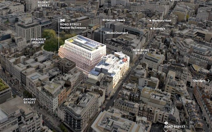 Aerial view of the Hanover Square development project by WSP in Mayfair, London.
