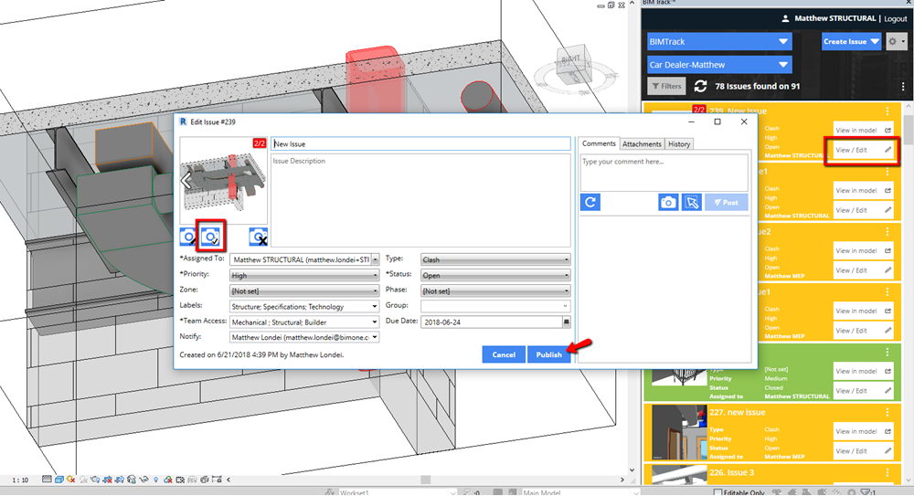 Changing the default view of an issue in BIM Track