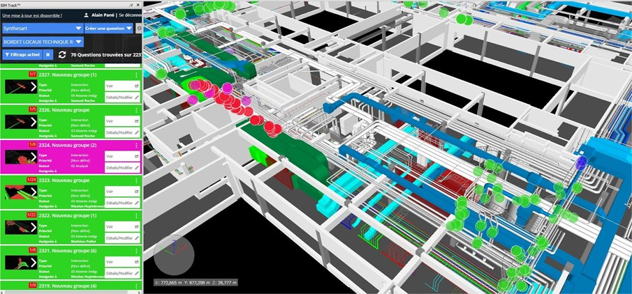 Federated model in Navisworks with BIM Track add-in showing dense systems on the hospital project by SynthésArt.