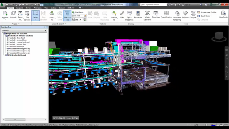 mported and aligned point cloud data in Navisworks