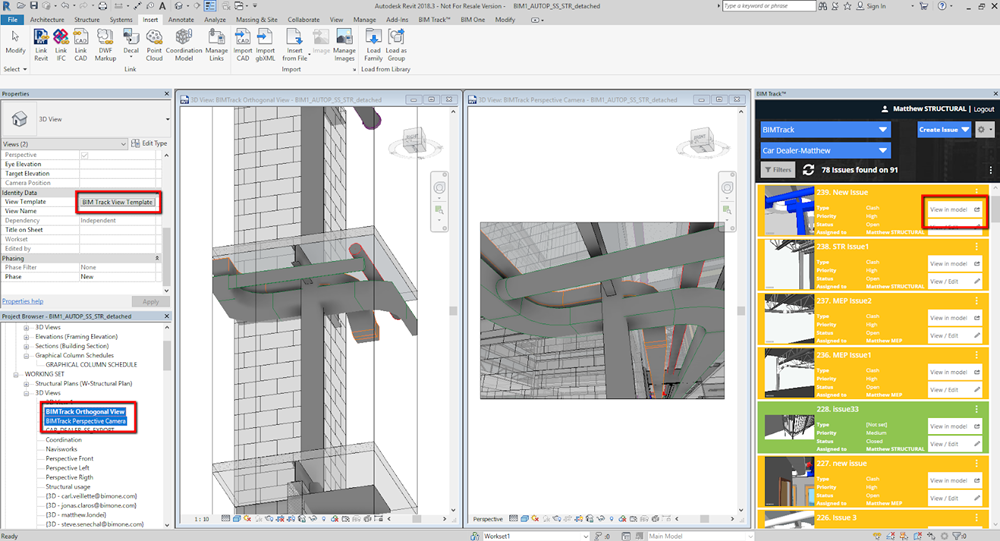 Different possible view type in Revit for BIM Track issues