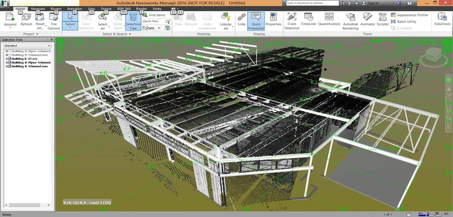 The model and point cloud aligned in Navisworks with the ClearEdge 3D Verity Add-in