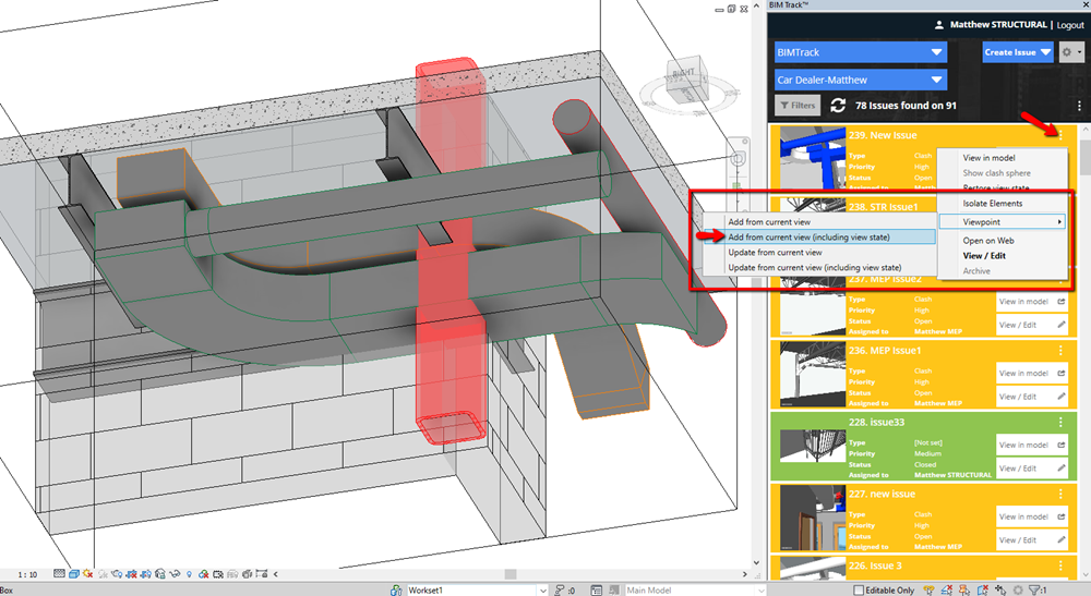 Adding Revit's orthographic view to a BIM Track issue
