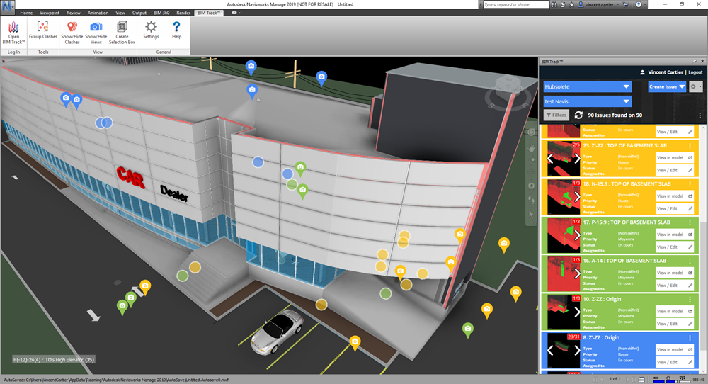 BIM Track's clash pinpoints features in the Navisworks add-ins
