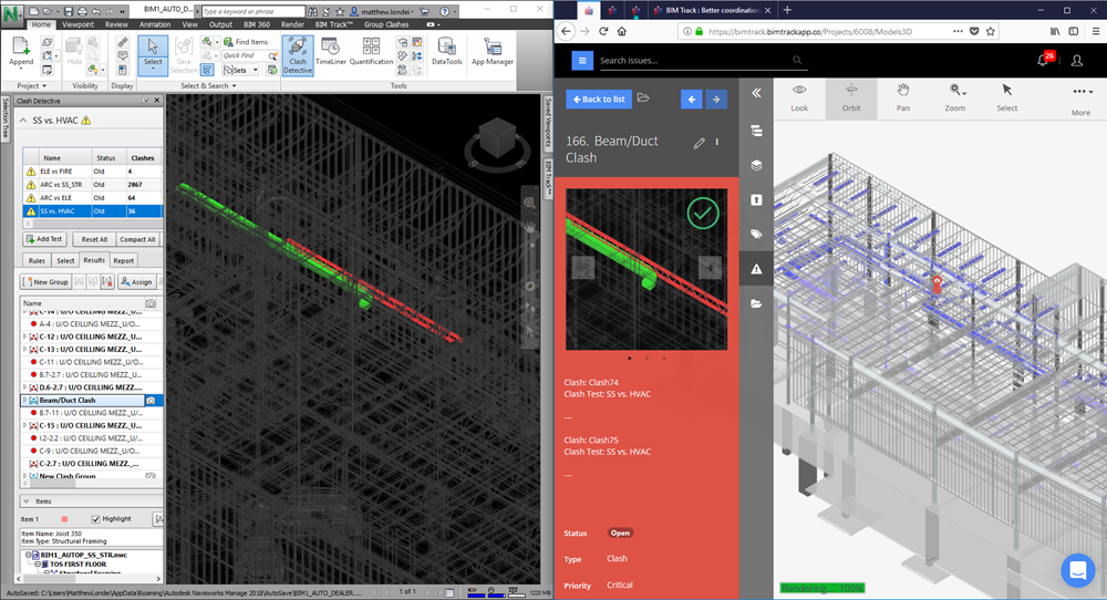 Clash detective and BIM Track Web Viewer
