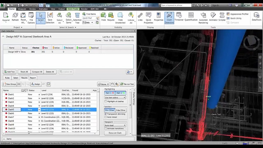 Clash test results being reviewed to identify issues in Navisworks